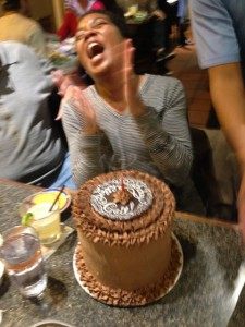 Gail's reaction to her cake...hahaha!