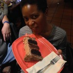 One giant slice of cake for the birthday girl!