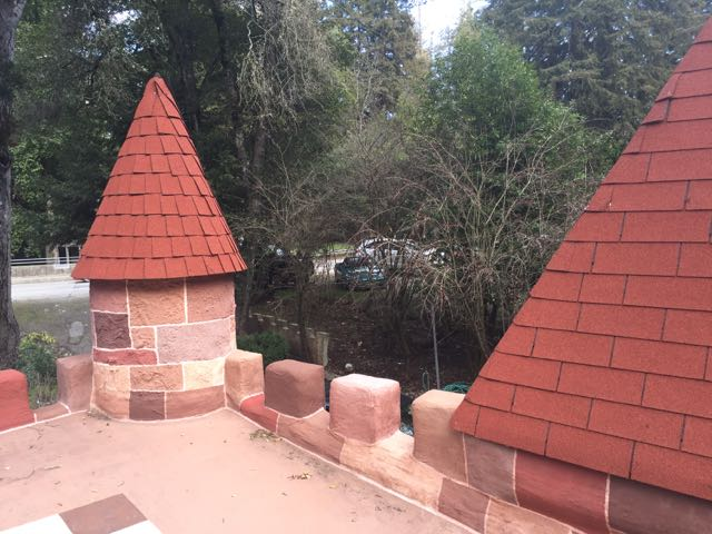 You can see some of the roof angle here. I do like the shingles on the spires, even though they're basic composite.
