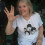 Sheila got into the Trek spirit by wearing the Spock shirt I painted in highschool!