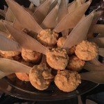 Closeup of the Golden Snitch corn muffins with edible wings