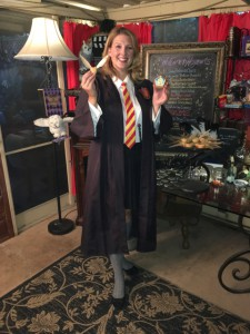 7th year Hogwarts student Britta show the new recipes Golden Snitches and Chocolate Frog S'mores to Prepare for the Cursed Child