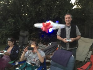 Glen flies the USS Enterprise 1701-A drone right at me!