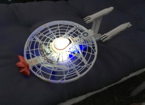 The USS Enterprise 1701-A drone complete with birthday bow on the bow! ;)