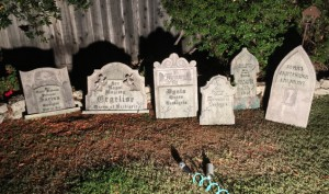 All 6 gravestones after aging treatment