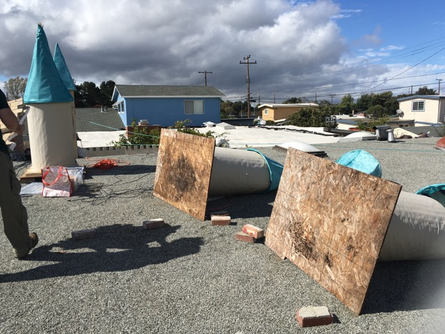 We never expected wind to blow the plywood bases sideways...wow! But the spires stayed on the columns!