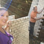 Hard at work touching up the castle walls with matching paint