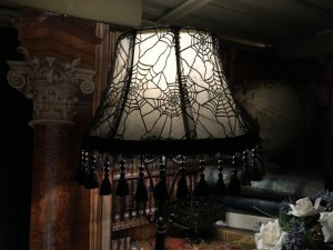 Just enough original black web lace from 1999 to make another lampshade cover WITH fabulous fringe!