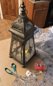Dressing up a lantern with more cheap web tablecloth