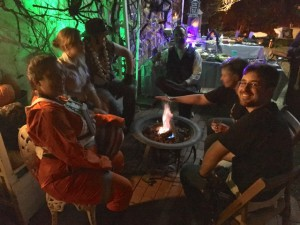 After-party around the gas firepit on the patio