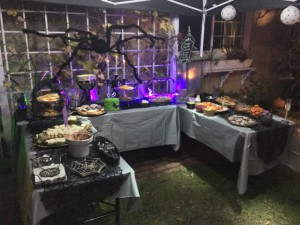 Creepy Cuisine table in the backyard