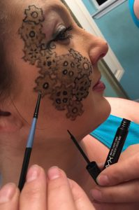 Steampunk Makeup Friday - outline with liquid eyeliner and a tiny brush